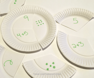 Make your own number puzzle with paper plates! Practice number sense, counting, and basic math with this simple project. #learning #activity #number #sense #math #preschool #counting #toddler Team-Cartwright.com