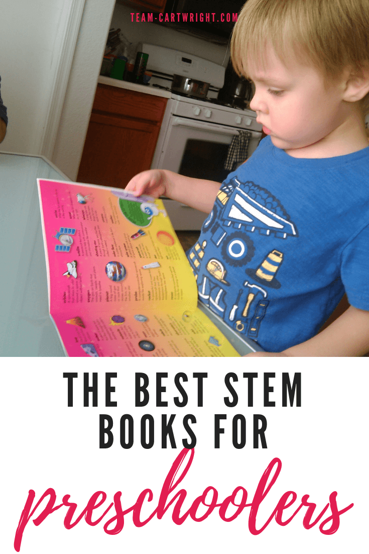 Best science books for preschoolers and toddlers! These books are the perfect way to encourage your child's love of STEM. #preschool #toddler #books #dinosaurbook #spacebooks #sciencebooks #STEMbooks Team-Cartwright.com