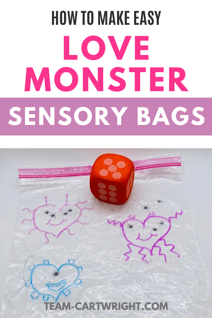 text: How to make easy Love Monster sensory bags Picture: sensory bag with heart monsters, googly eyes, and a red dice