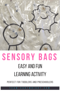 Sensory bags! Make an easy and fun learning activity to keep your toddlers entertained while you make dinner. Work fine motor skills and more! #sensorybags #sensoryactivity #learninggame #learningactivity #toddler #finemotorskills #preschooler Team-Cartwright.com