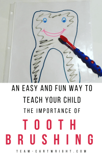 An easy and fun way to teach your preschooler the importance of brushing their teeth. Learn fun ways to help your child overcome any fears and get those teeth clean! #oralhygiene #dentalactivities #learningactivity #toddler #preschool #toothbrushing #brushteeth Team-Cartwright.com