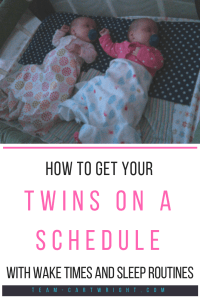 How do you get your twins on a schedule? The second step is to wake them up then help them sleep. Here is what you need to know about twin wake times and sleep routines. #twinschedule #twinroutine #babywise #babywiseschedule #waketimes #sleeproutines #twinsleep #twins #newborntwins Team-Cartwright.com