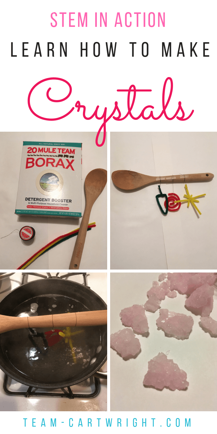 Learn how to make crystals! See how easy this is and get the science behind it. #crystals #STEM #science #kids #toddler #preschooler #learning #activity #sciencefair Team-Cartwright.com