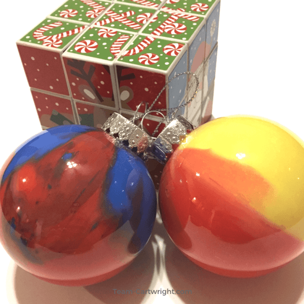 Homemade Marbled Ornaments: Color Mixing Christmas STEM