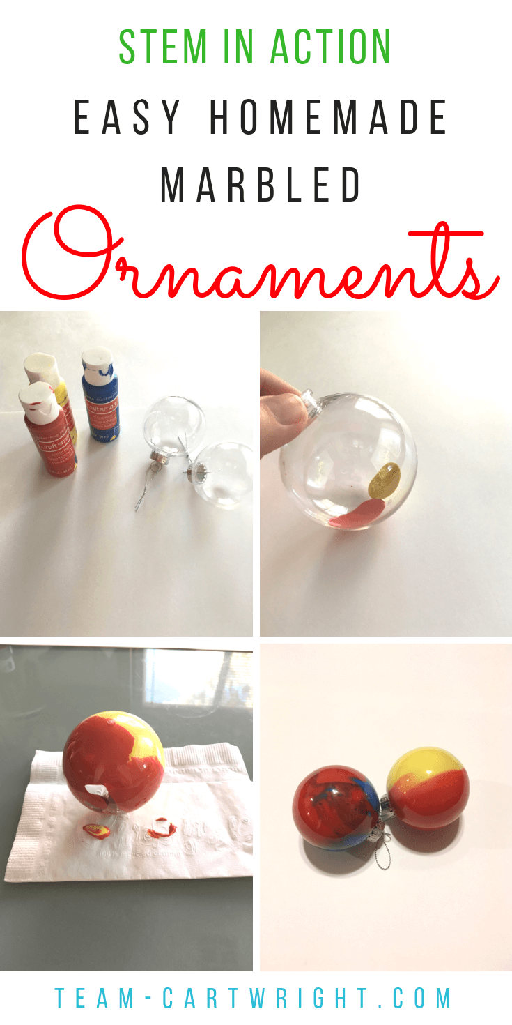 How to make easy and beautiful homemade ornaments with your kids! Fast and fun with a little science mixed in. Christmas Learning Fun! #christmascraft #christmasSTEM #christmasscience #christmaslearning #learningactivity #STEAM #colorscience #toddler #preschool Team-Cartwright.com