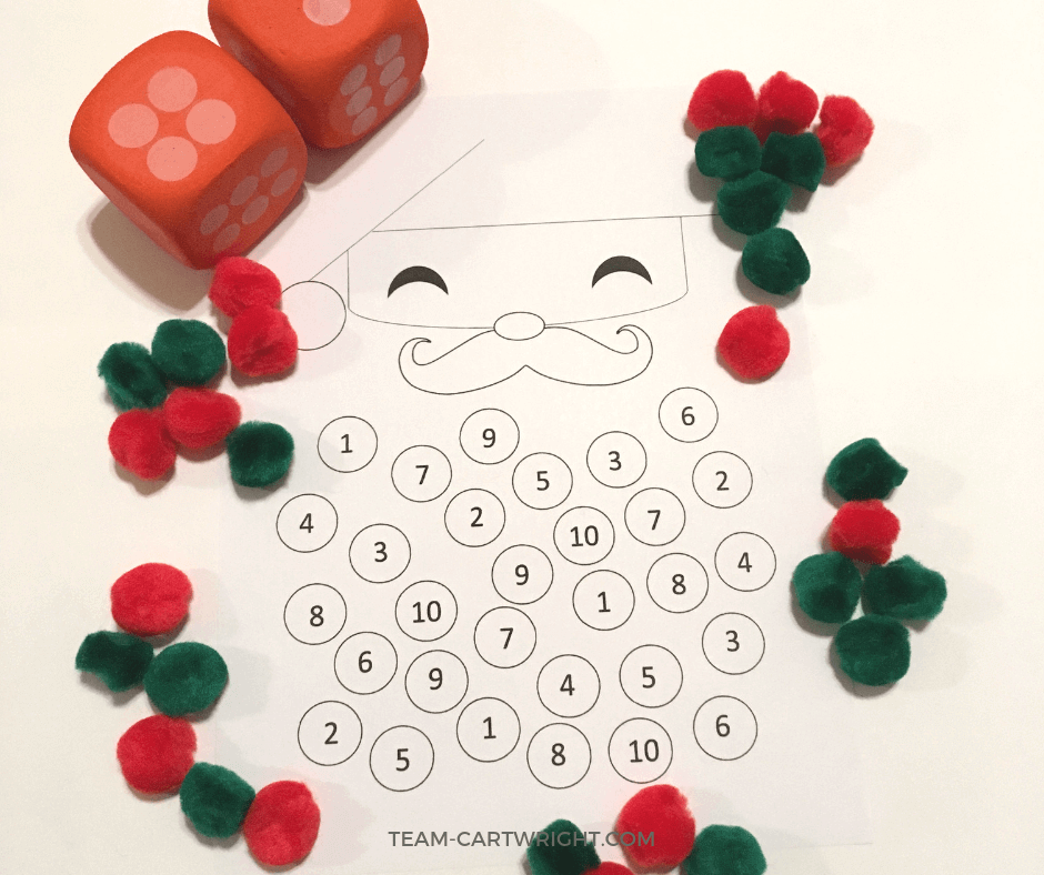 Christmas Counting Worksheets! Try these fun and easy math games to work on counting and number sense with your preschooler and toddler. Free printable worksheet! #christmas #christmaslearning #learningactivity #numbersense #countinggame #christmasSTEM #christmascraft #toddler #preschool Team-Cartwright.com
