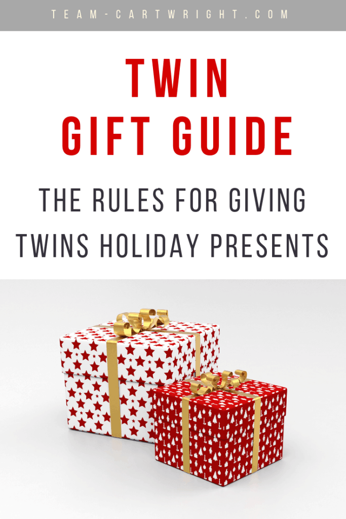 Do you give twins two gifts or can you just give them one? Learn the rules for determining how to get present for twins. #twins #twingifts #christmas #presents #twinrules #etiquette #twingiftguide Team-Cartwright.com