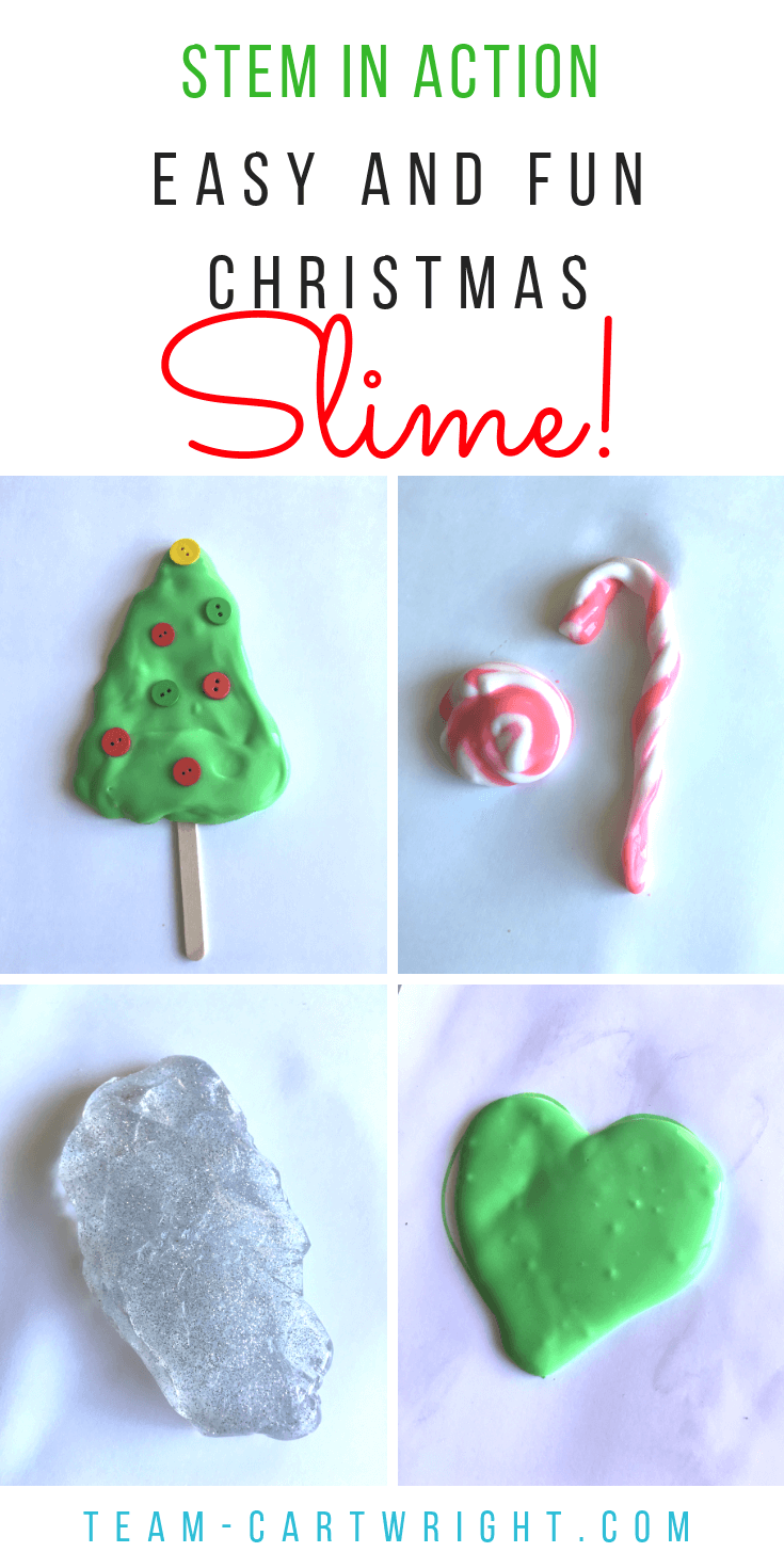 Christmas Slime for Kids! 7 easy holiday slime ideas to bring some sensory STEM fun to your Christmas time. Simple, safe, and fun! #Slime #ChristmasSlime #CandyCaneSlime #ChristmasTreeSlime #ElfSlime #IceSlime #SantaSlime #learningactivity #sensoryactivity #christmas Team-Cartwright.com