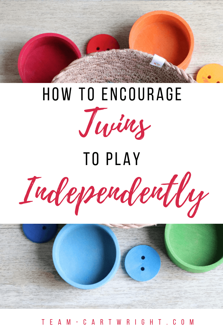 How to encourage your twins to play independently. Learn the benefits of individual playtime for twins and get tips to make it happen. #TwinTips #ToddlerTwins #Twins #IndependentPlaytime #Babywise #BabywiseTwins #TwinIndividuality Team-Cartwright.com