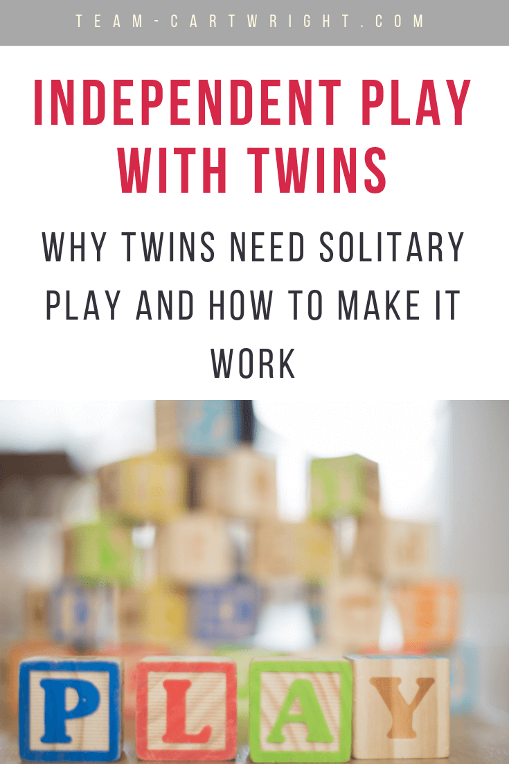 Twins need the chance to play by themselves! Learn why this independent play is so important and how to actually do it with your twins. #Twins #ToddlerTwins #IndependentPlay #TwinPlay #GettingTwinsToPlayAlone #TwinOneonOneTime #Babywise #BabywiseTwins Team-Cartwright.com