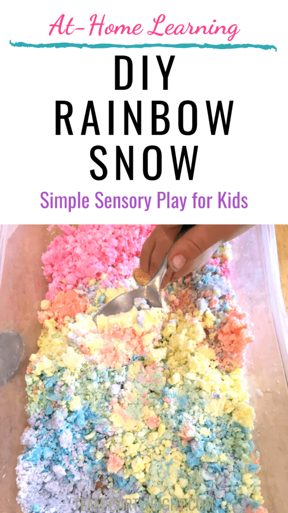 DIY rainbow snow simple sensory play for kids with picture of a bin of rainbow snow