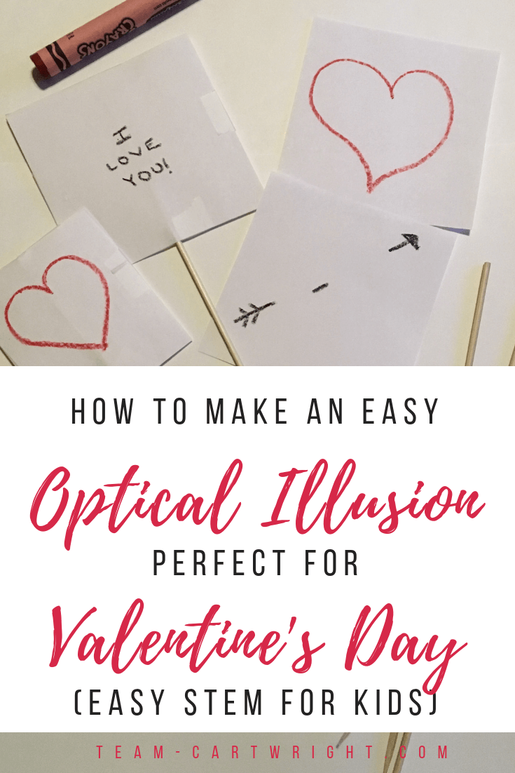 Make an easy optical illusion with your kids!! Super fun and fast, and it makes a great Valentine's Day card. Enjoy some Valentine's Day STEM with your kids! #PreschoolValentine #ValentinesSTEM #Thaumatrope #ValentinesThaumatrope #DIYValentines #HomemadeValentines Team-Cartwright.com