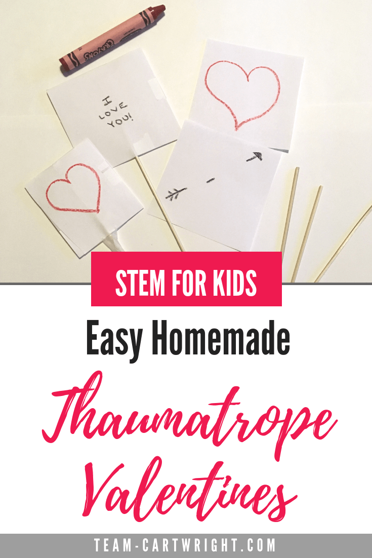 STEM for kids: Thaumatropes! Learn how to make a super simple optical illusion that doubles as an awesome Valentine's Day card! Simple, educational, and fun. #STEMkids #ValentinesSTEM #Thaumatrope #OpticalIllusion #HomemadeValentine #HandmadeValentine Team-Cartwright.com