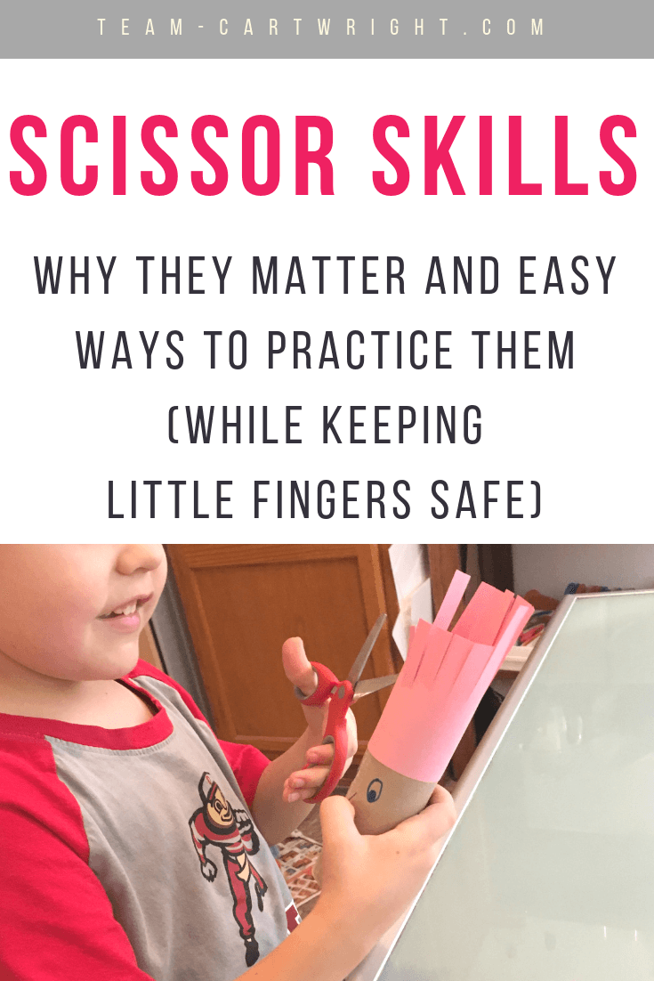 Scissor Skills for Kids! Learn how cutting helps with development and even reading skills, plus get easy activities to try at home! #CuttingPractice #ScissorSkills #PreschoolWorksheets #FreePrintable Team-Cartwright.com