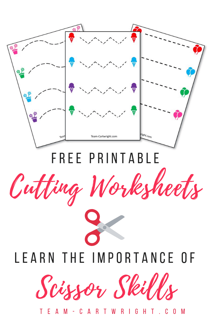 Free printable cutting worksheets for preschoolers! Practice scissor skills with your child and learn why they are so important. #ScissorSkills #CuttingPractice #PreschoolLearning #FreePrintable Team-Cartwright.com