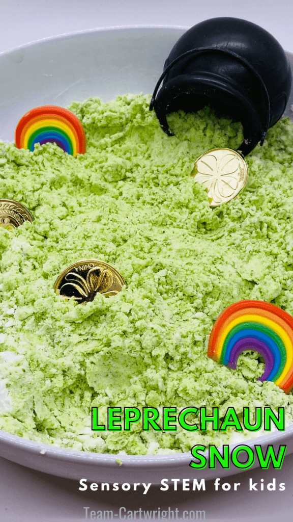 Text: Leprechaun Snow Sensory STEM for Kids Picture: round sensory bin with green sensory snow, gold coins, rainbows, and pot of gold
