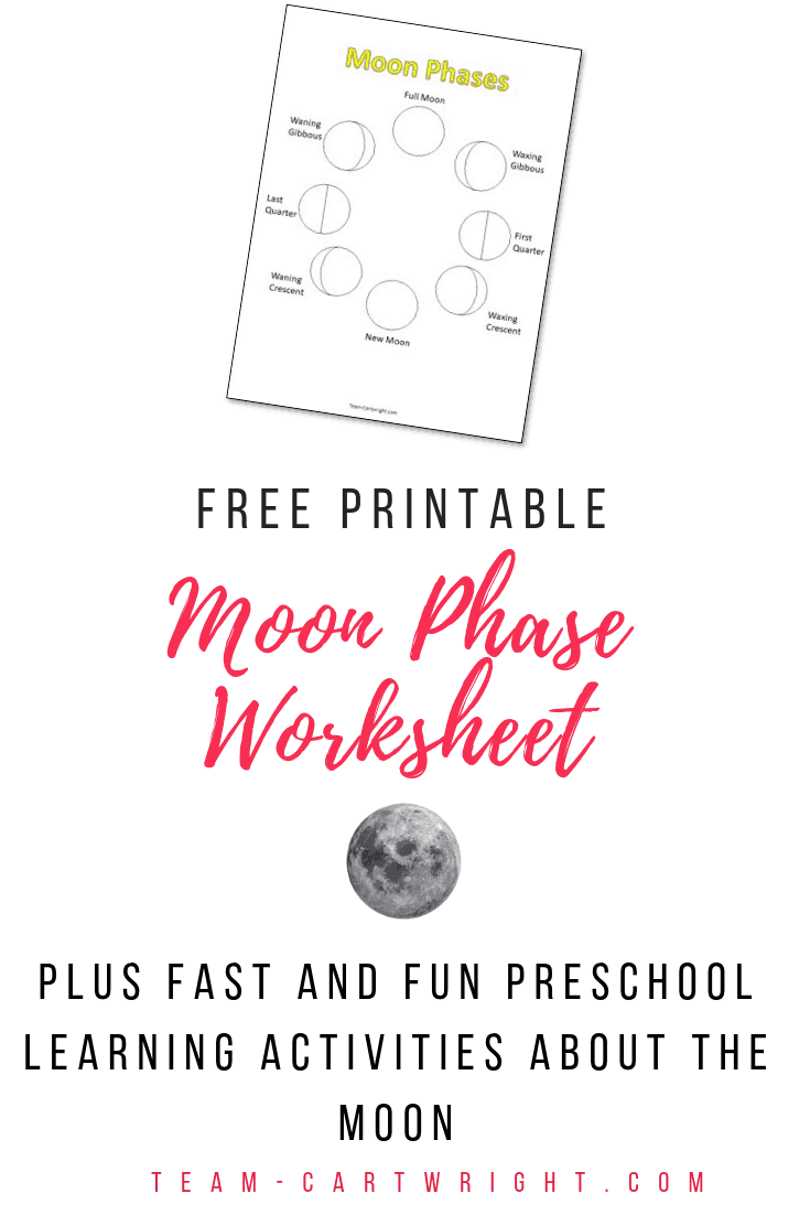 Free printable moon science worksheet! Grab this free coloring page and get even more fast and fun learning activities all about the moon! Perfect for preschoolers and toddlers to learn about our solar system. #MoonScience #FreePrintable #MoonSTEM #PreschoolScience #LearningActivities Team-Cartwright.com