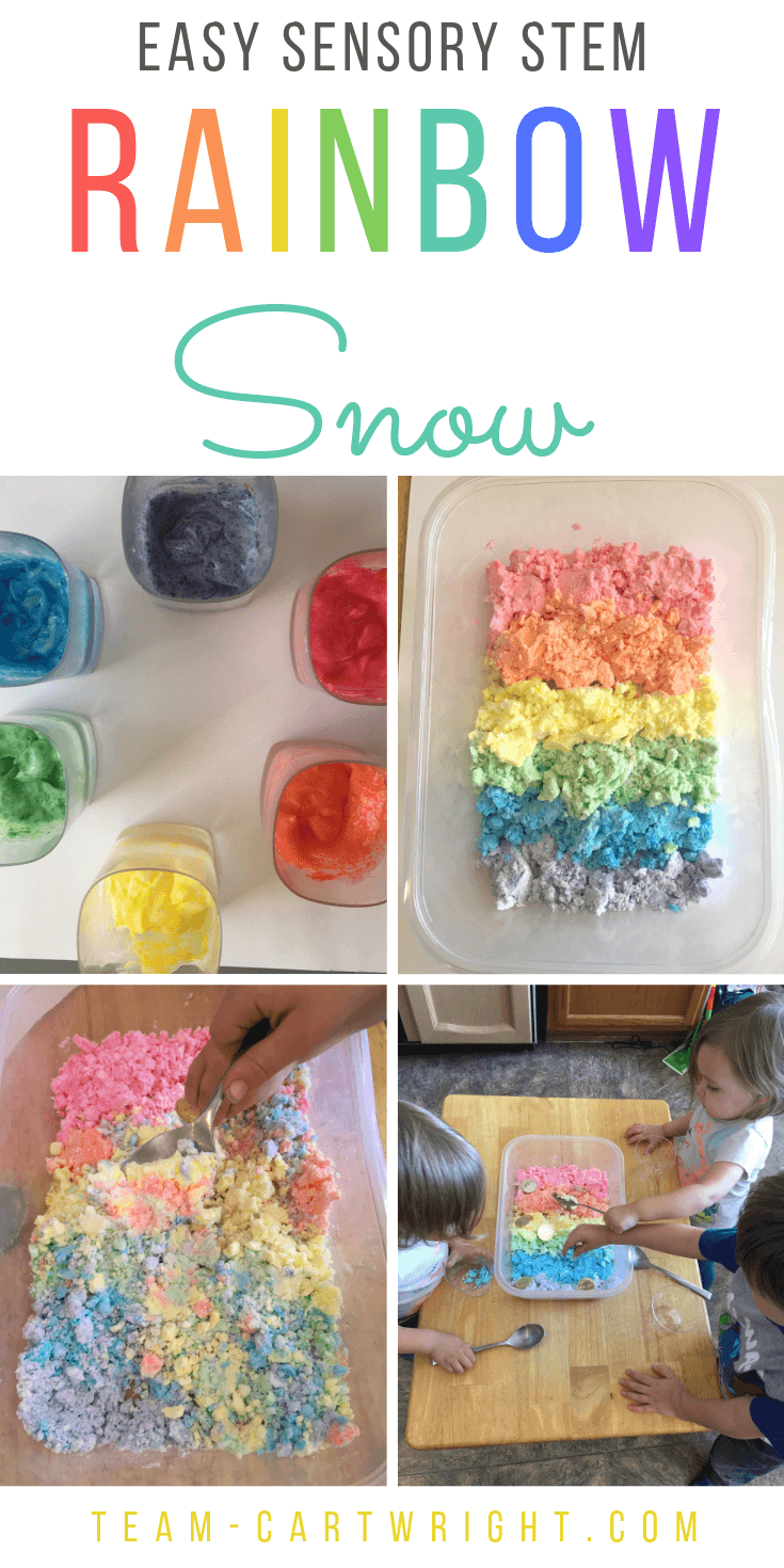 Sensory STEM in Action! Learn how to make 2 ingredient rainbow snow. Picture of colored sensory bin.