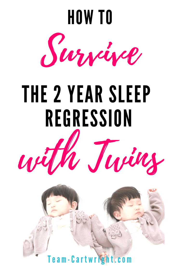 How to survive the 2 year sleep regression with twins. Your toddler twins suddenly refusing to sleep? It's normal, but frustrating. Here are the reasons why this happens, how having twins changes things, and ways to get through it. Pin this for when your twins are toddlers! #ToddlerTwins #SleepRegression #TwinSleep #2YearSleepRegression #TwinNaps #TwinSleepRegression #babywise #BabywiseTwins Team-Cartwright.com