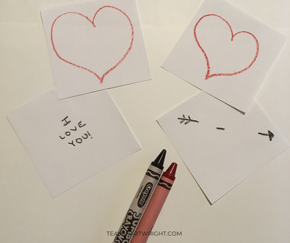 Step one of making a thaumatrope: Draw your images. (Hint, lightly trace the heart onto both pieces of paper. Then erase it off the one you aren't filling in with crayon.) #Thaumatropes #ValentineCards #STEM #ValentineSTEM #OpticalIllusion Team-Cartwright.com