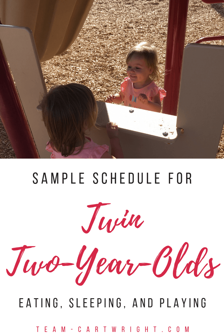 Sample Twin Toddler Schedule. Learn how to find order in your day and keep your twins on the same schedule. 2 year old eat play sleep schedule. #ToddlerTwins #TwinToddlers #TwinSchedule #TwinToddlerSchedule #BabywiseSchedule #BabywiseTwins Team-Cartwright.com