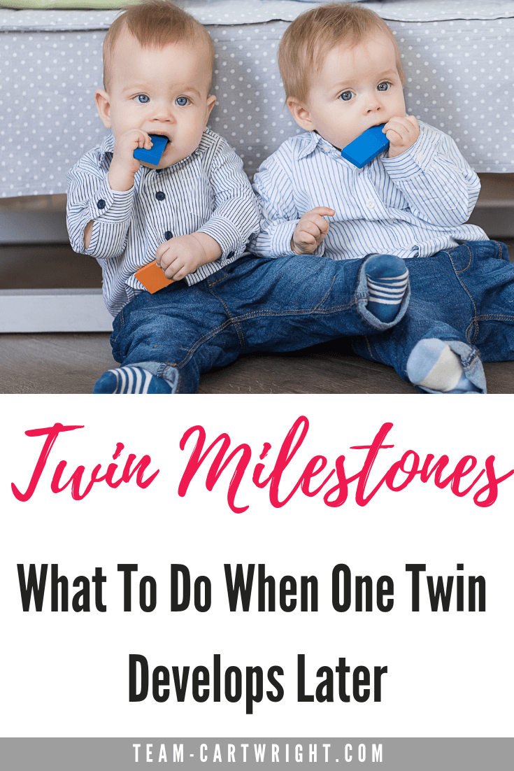 Should twins hit developmental milestones at the same time? No. In fact they probably won't. Here is why twins reach milestones differently and how to handle it without freaking out. #TwinMilestones #TwinDevelopment #ToddlerTwins #TwinTips #TwinMom Team-Cartwright.com