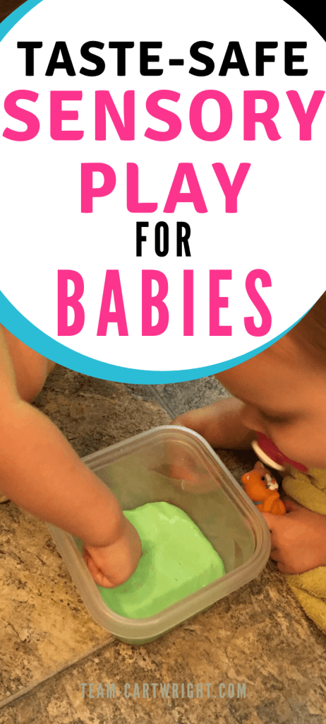taste-safe sensory play for babies with picture of babies playing with a safe slime
