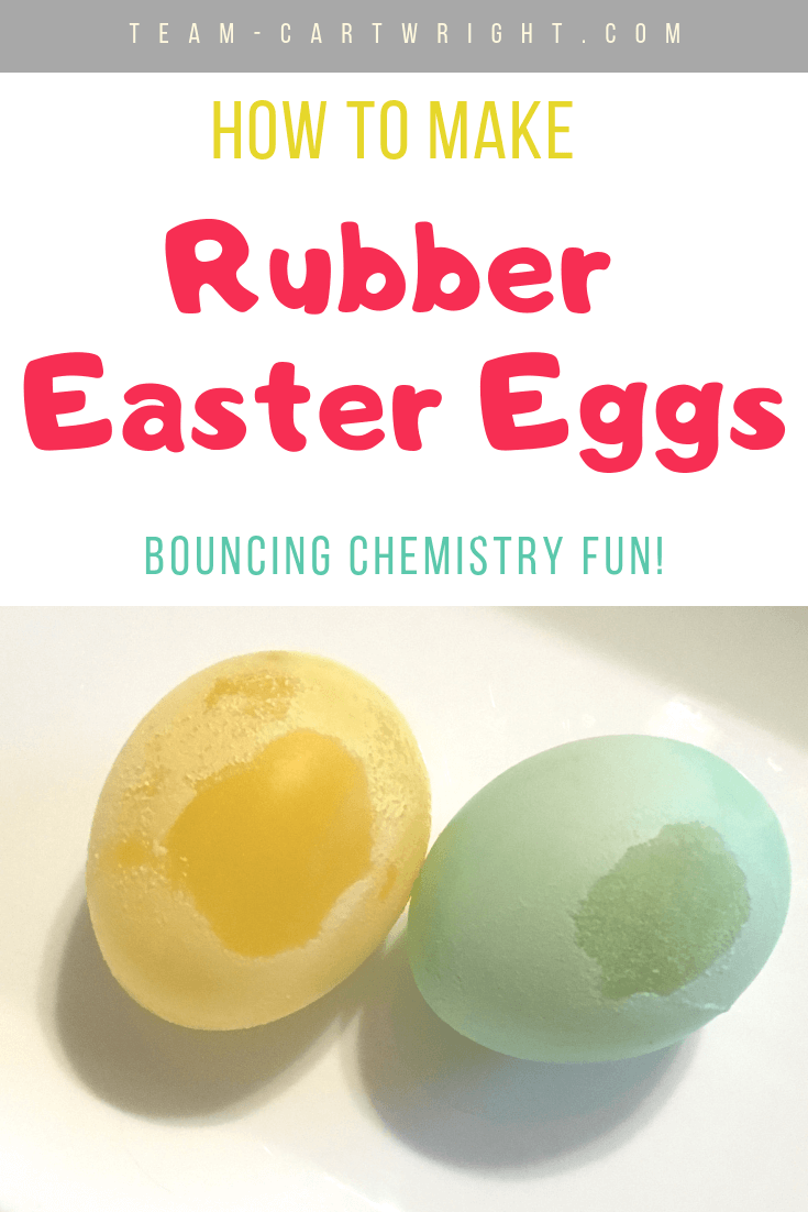 Image for the rubber egg experiment.  picture of yellow and green Easter egg with text overlay how to make rubber Easter eggs bouncing chemistry fun.