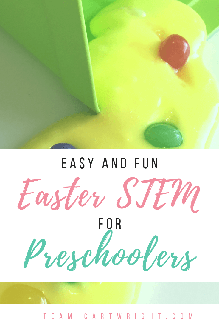 picture of yellow jelly bean slime with green easter basket and text overlay stating easy and fun Easter STEM for preschoolers