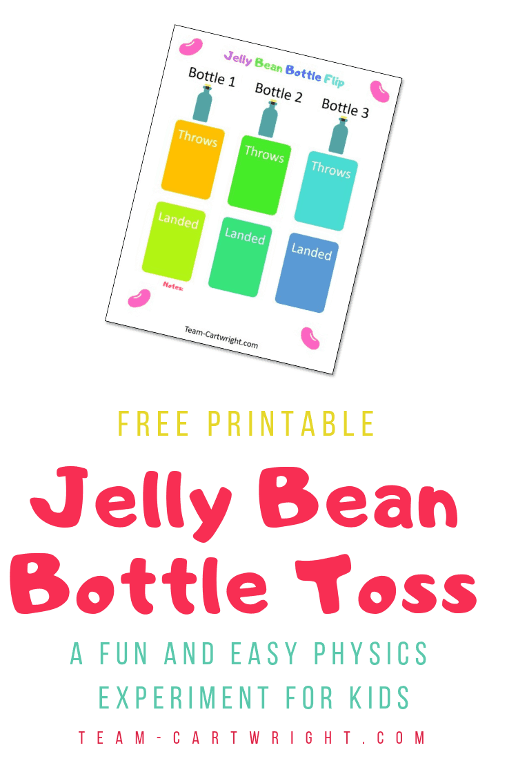 Picture of a colorful kid's science worksheet with the text: Free Printable Jelly Bean Bottle Toss A fun and easy physics experiment for kids