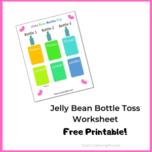 Picture of Jelly Bean Bottle Toss Data worksheet with text Jelly Bean Bottle Toss Worksheet free printable