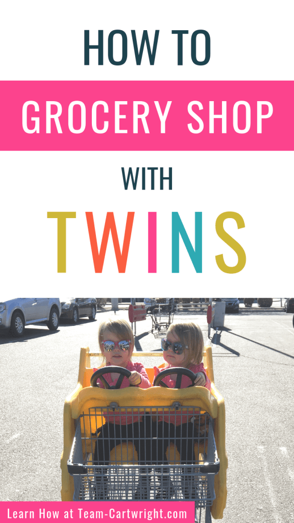 How to grocery shop with twins and picture of twins in a shopping cart.