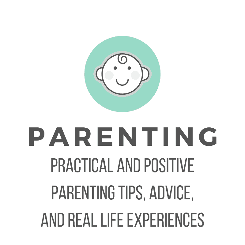 picture of a blue circle with baby face cartoon and text: Parenting: Practical and Positive parenting tips, advice, and real life experiences