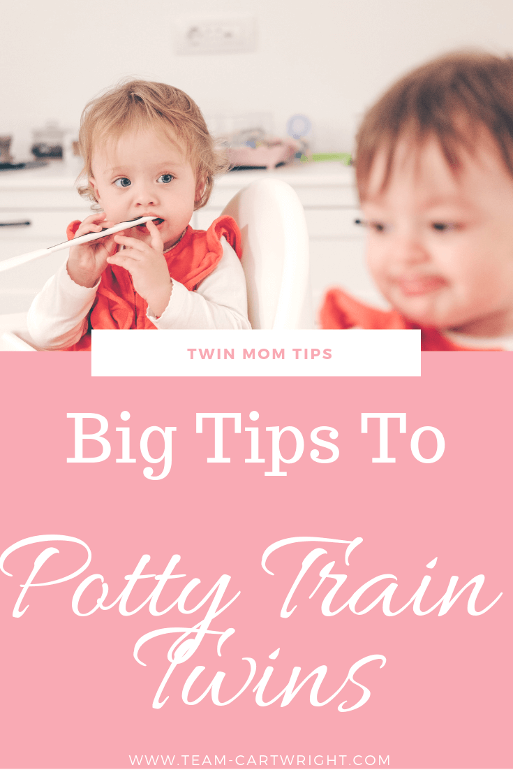 picture of twin toddlers with text: Twin Mom Tips: Big tops to potty train twins.