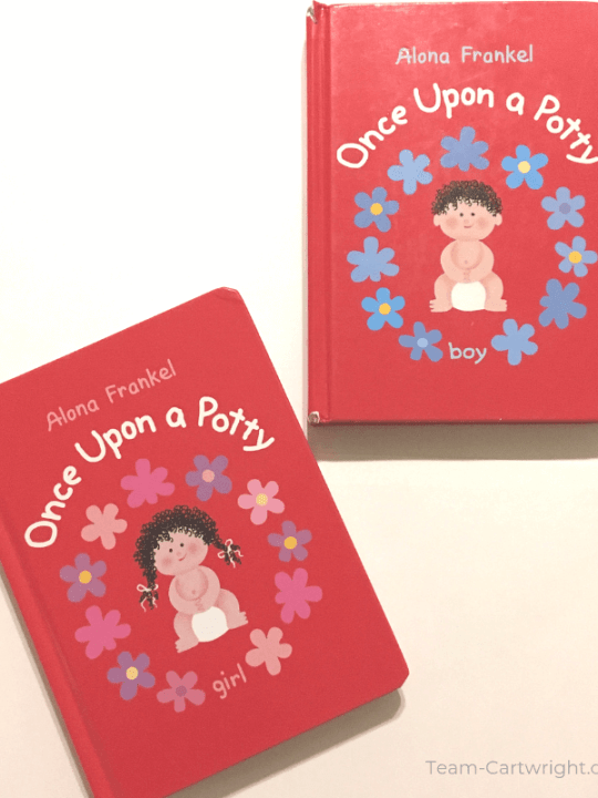 picture of two Once Upon a Potty books, one boy and one girl