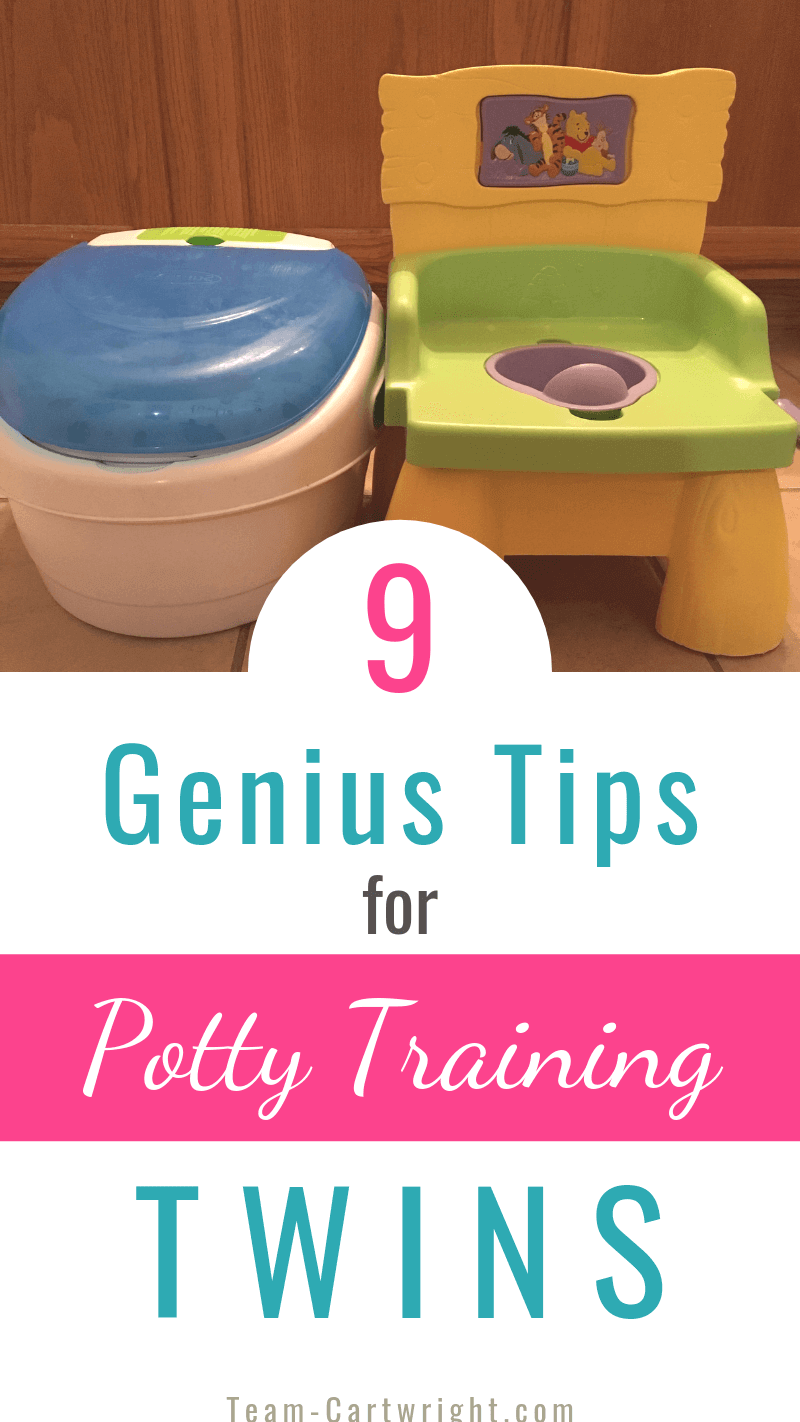 9 Genius Tips for Potty Training Twins with picture of two training potties