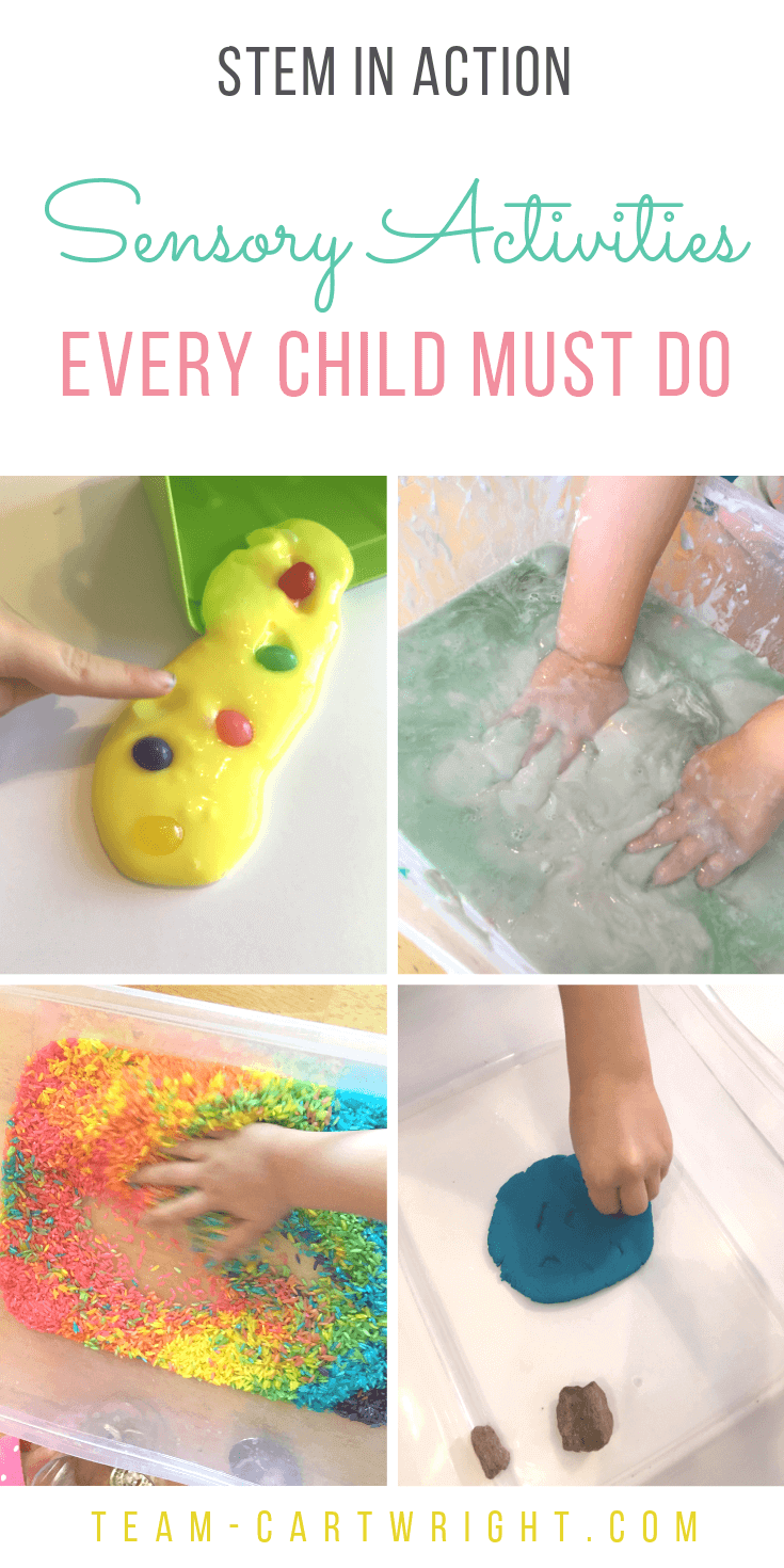 4 pictures of children touching sensory activities with text overlay STEM In Action Sensory Activities Every Child Must Do
