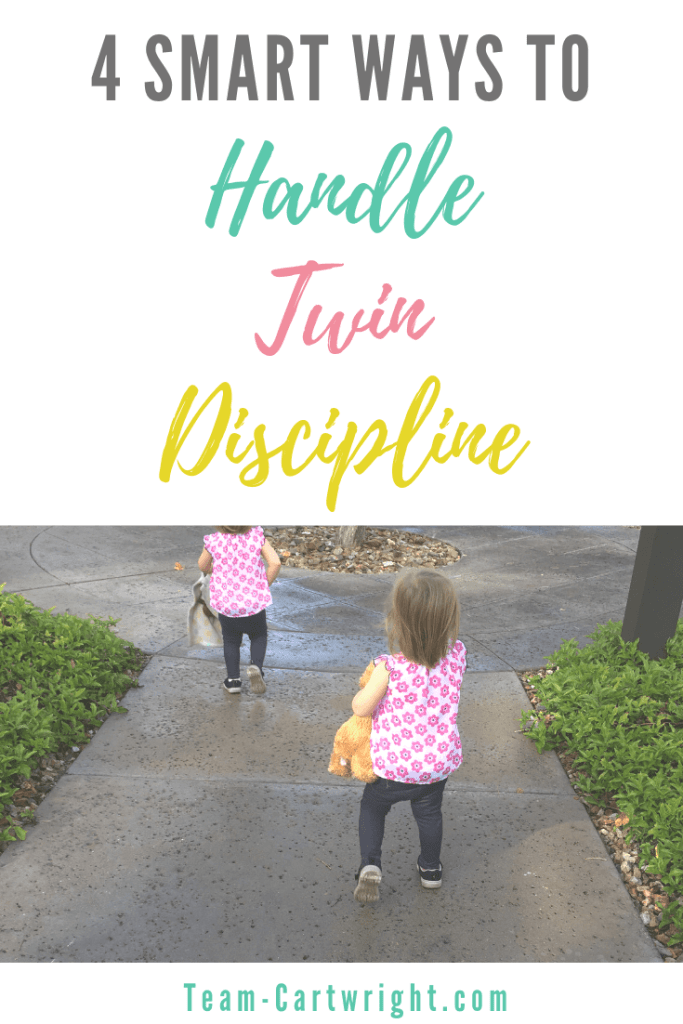 picture of toddler twins with text overlay: 4 smart ways to handle twin discipline