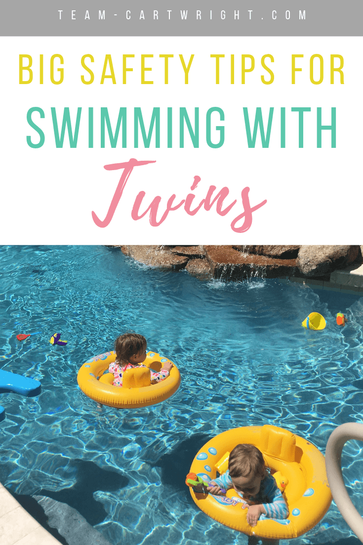 picture of baby twins swimming with text overlay Big Tips For Swimming With Twins