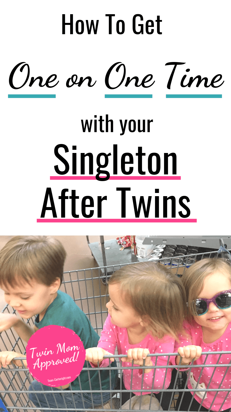 picture of an older singleton with twin little sisters and text How To Get One on One Time with your Singleton After Twins