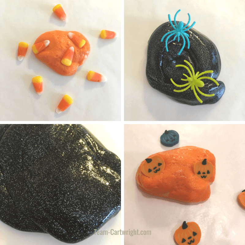 Pictures of candy corn slime, spider web slime, black hole slime, and pumpkin slime