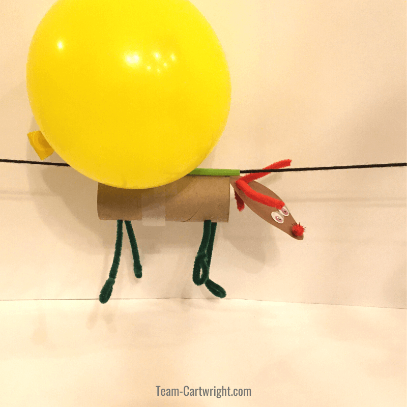 picture of toilet paper tube reindeer flying with the help of a yellow balloon
