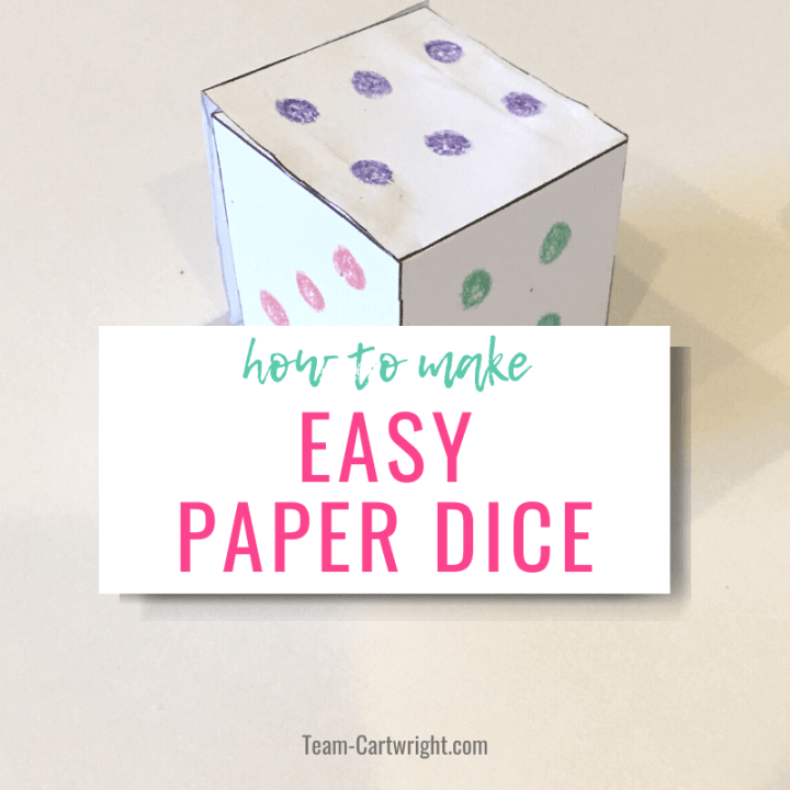 how to make easy paper dice with picture of paper dice