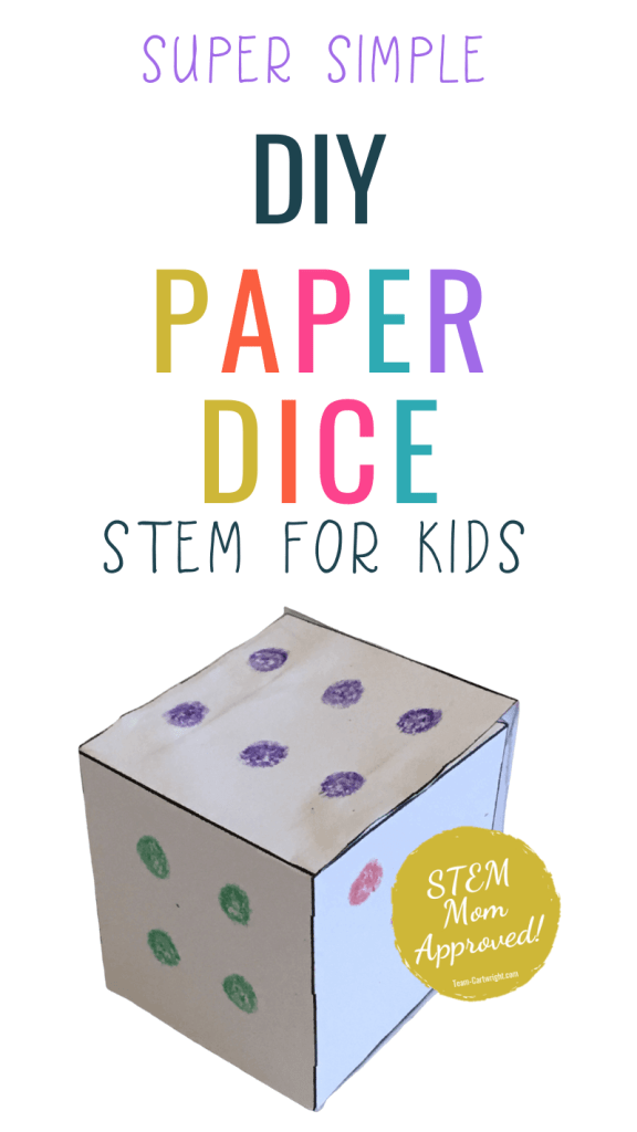 super simple DIY Paper Dice STEM for kids with pictures of paper dice