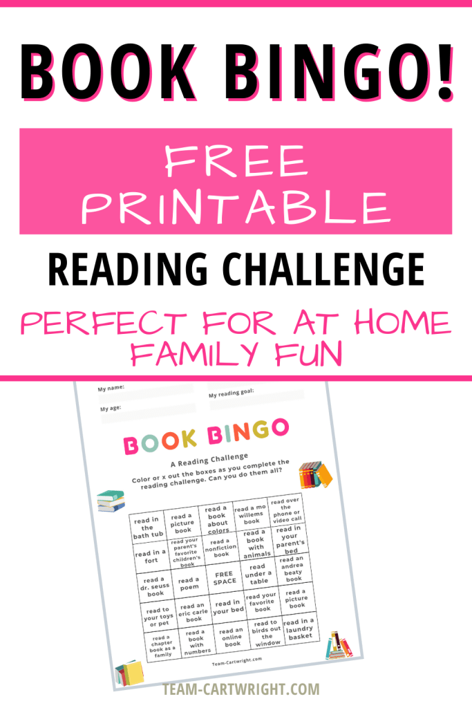 Book Bingo Free Printable Reading Challenge perfect for at home family fun