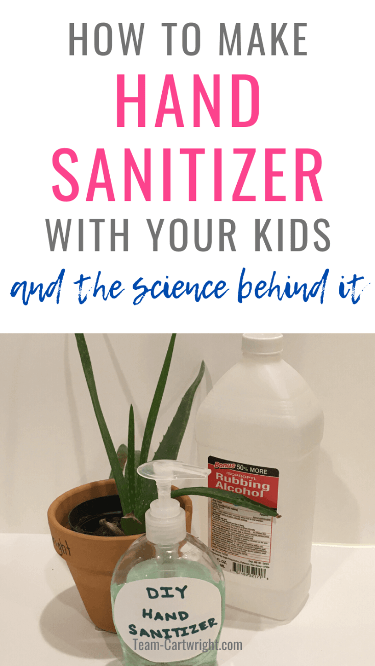Looking for an easy DIY hand sanitizer recipe for kids? This is the one! Fast and simple to make. PLus it is the perfect way to learn about the science of hand washing and hand sanitizer! Encourage good hygiene with a fun science project. DIY Hand Sanitizer. Hand sanitzers for kids. Science of hand washing. #diyhandsanitizer #stemactivities #scienceproject Team-Cartwright.com