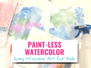 Paint-less Watercolor Easy Process Art for Kids with picture of watercolor art