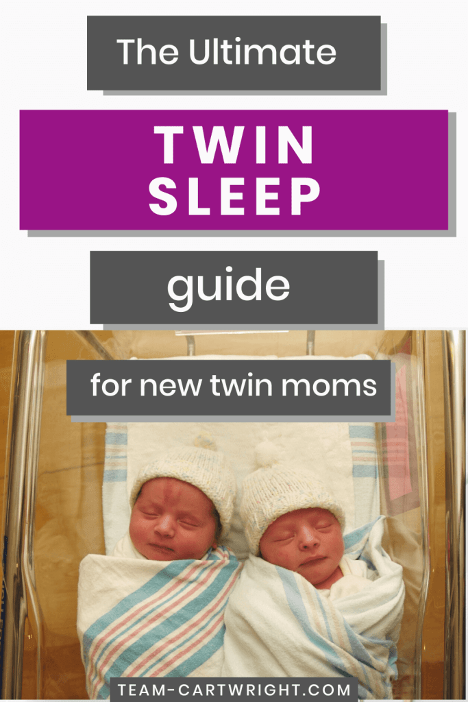 The ultimate twin sleep guide for new twin moms with picture of sleeping twins