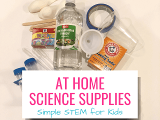 At home science supplies Simple STEM for kids with pictures of supplies from post