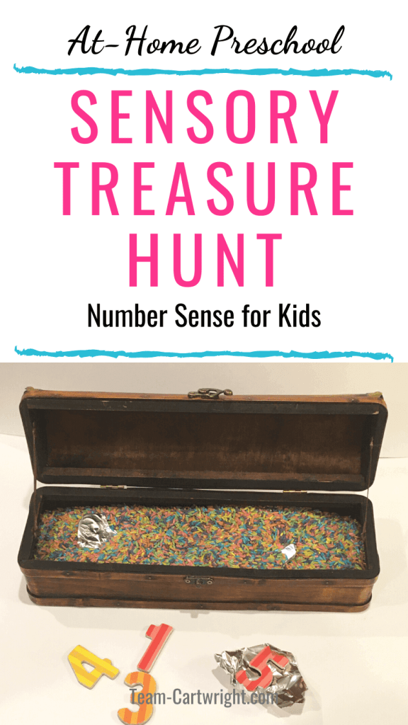 at home preschool sensory treasure hunt number sense for kids with picture of treasure chest with sensory rice and number toys